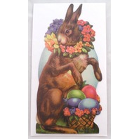 Victorian Turn Of The Century Easter Card Bunny Rabbit With Painted Eggs #Grc047