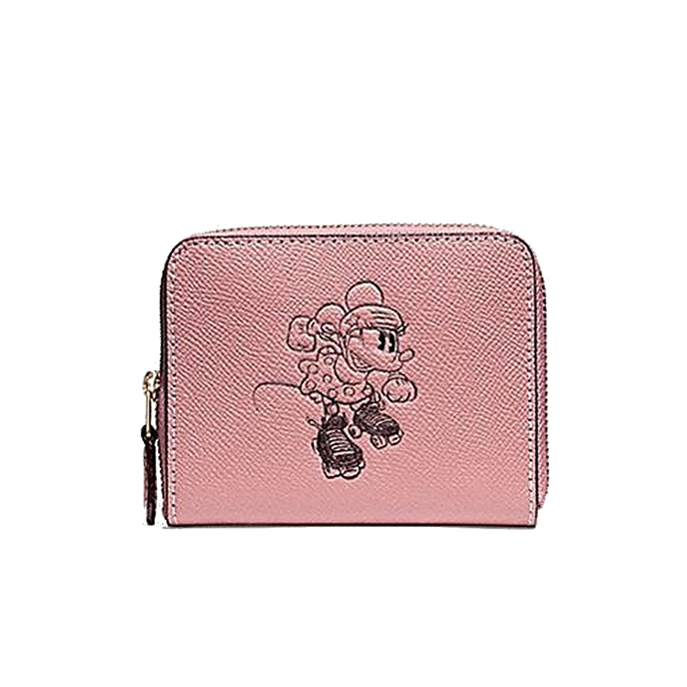 Nwt Coach X Disney Minnie Mouse Roller Skates Zip Around Wallet Pink
