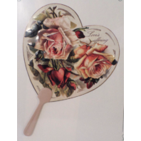 Vintage Inspired Victorian Paper Fan Greeting Card Old Print Factory Flower Rose
