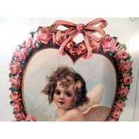 Vintage Inspired Victorian Paper Fan Greeting Card Old Print Factory Cupid Baby
