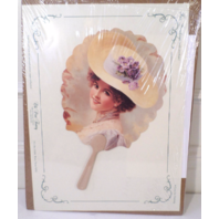 Vintage Inspired Victorian Paper Fan Greeting Card Old Print Factory  Lady W/Hat