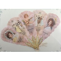 Vintage Inspired Paper Fan Greeting Card Wishing Love And Laughter Woman Lady
