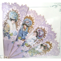 Vintage Inspired Valentine Paper Fan Greeting Card Special Thoughts Of You Lady