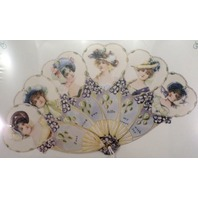 Vintage Inspired Paper Fan Greeting Card Women In Bonnet Hats Just Because