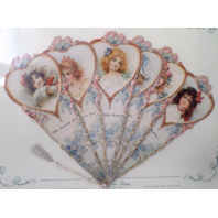 Vintage Inspired Valentine Paper Fan Greeting Card Happy Birthday Romantic Child