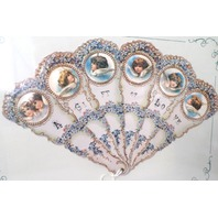 Vintage Inspired Valentine Paper Fan Greeting Card A Gift Of Love Angel Babies