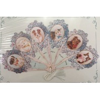 Vintage Inspired Paper Fan Greeting Card Dog And Cat Pets