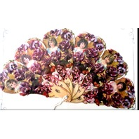 Vintage Inspired Valentine Paper Fan Greeting Card A Loving Thought Pansy Flower