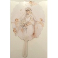 Vintage Inspired Paper Fan Greeting Card Wedding Day Blushing Bride with Angels Fan048