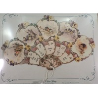 Vintage Inspired Victorian Paper Fan Greeting Card Old Print Factory Birds Pansy