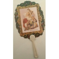 Vintage Inspired Victorian Paper Fan Greeting Card Santa Toys Christmas Joys