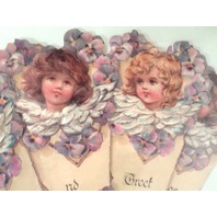 Vintage Inspired Victorian Paper Fan Greeting Card Old Print Factory Cupid Child