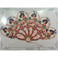 Vintage Inspired Victorian Paper Fan Greeting Card Old Print Factory Roses Girl