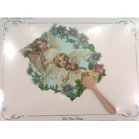 Vintage Inspired Victorian Paper Fan Greeting Card Old Print Factory Angels