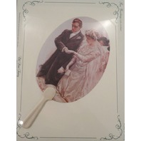 Vintage Inspired Victorian Paper Fan Greeting Card Wedding Bride Groom