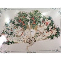 Vintage Inspired Victorian Paper Fan Greeting Card Special Greetings Holdiay Kid