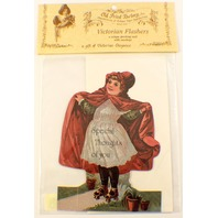 Victorian Turn Of The Century Special Thoughts Greeting Card Girl Skates #Fc-109