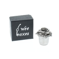 A.E. Williams Pewter Tiny Trinket Wee Box Rose Flower in a Pot