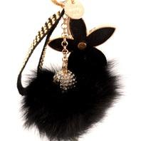 Rhinestone Bling Key Chain Fob Phone Purse Charm Flower Fur Puff New
