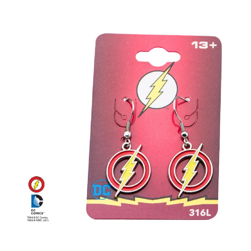 Inox Jewelry DC Comics The Flash Logo Stainless Steel Pierced dangle Earring
