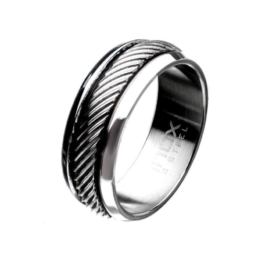 Inox Mens Polished Casted Stainless Steel Inlayed Band Ring Size 10