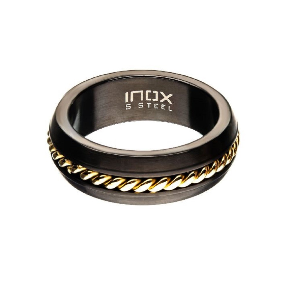 Inox Mens Steel Polilshed Gold IP Inlayed Ring Size 11