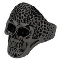 Inox Mens Stainless Steel Black Oxidized Skull Ring Dotted Head - Size 10