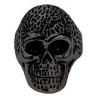 Inox Mens Stainless Steel Black Oxidized Skull Ring Dotted Head - Size 12