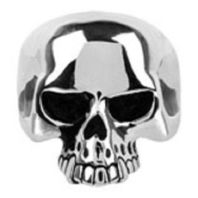 Inox Men'S Stainless Steel Black Oxidized Skull Ring Size 12