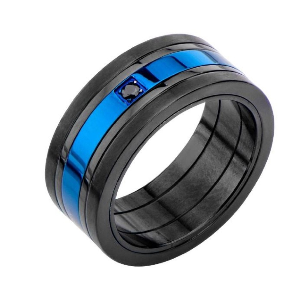 Inox Mens Matte Black and Blue IP with Black CZ Ring Size 13