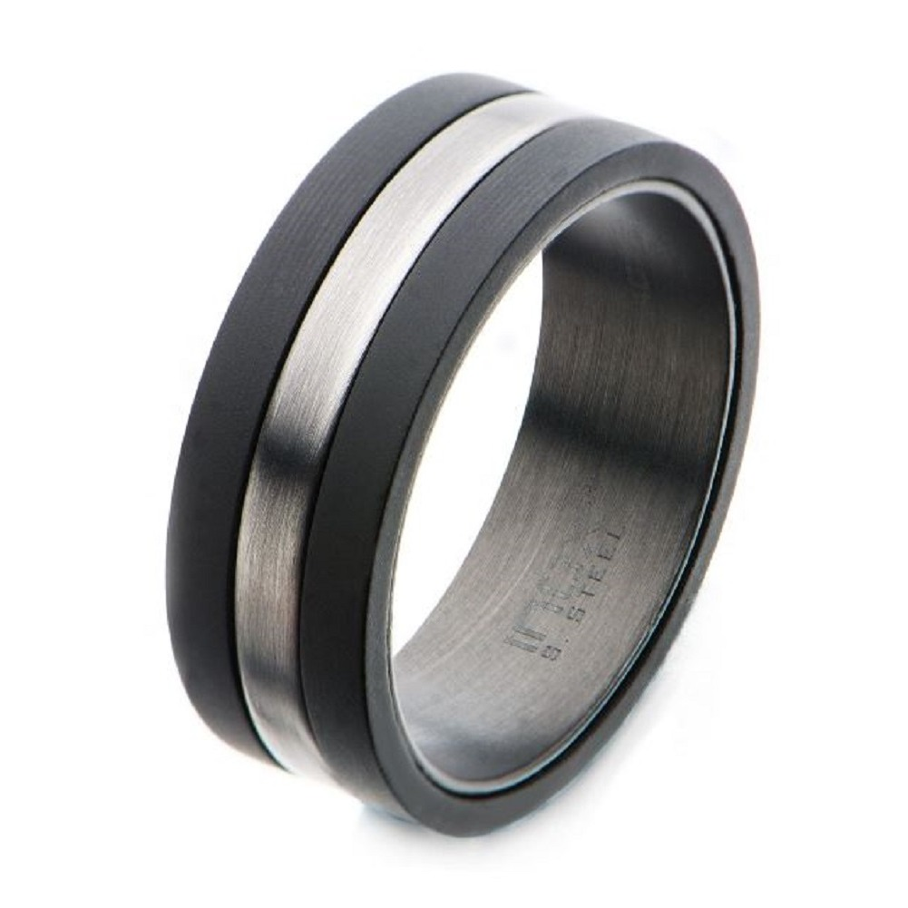 Inox Mens Solid Carbon with Antiqued Silver Plated Nero Band Ring Size 12