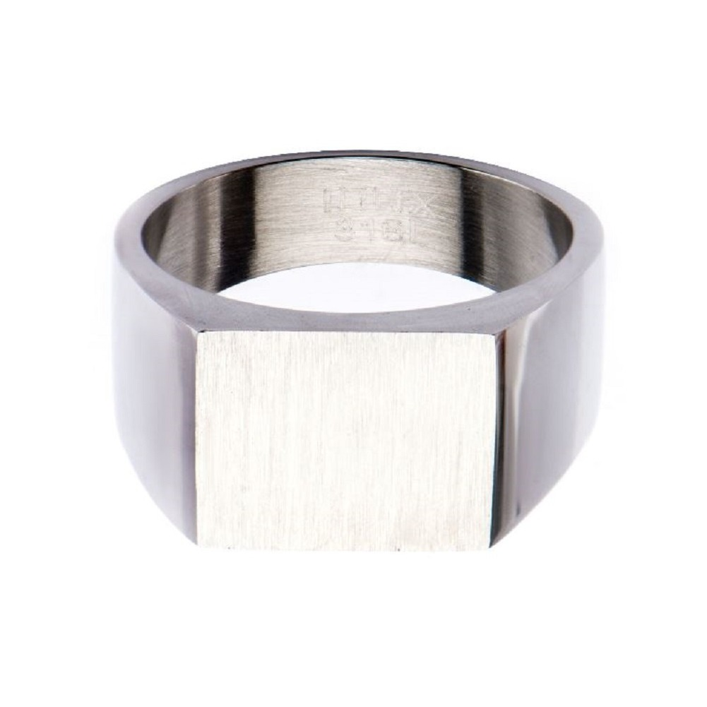 Inox Mens Stainless Steel Engraveable Classic Signet Polished Ring 12