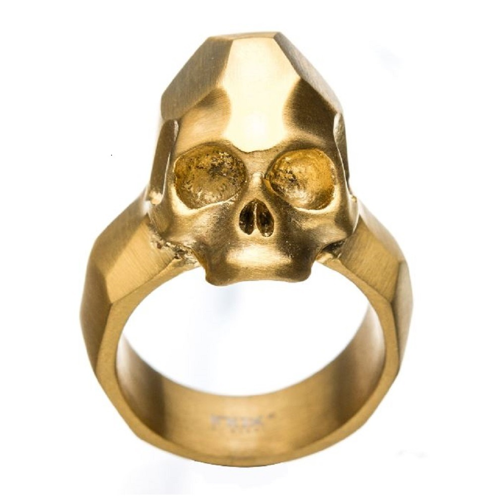 Inox Mens Stainless Steel Gold IP Geometric Skull  Ring Size 9