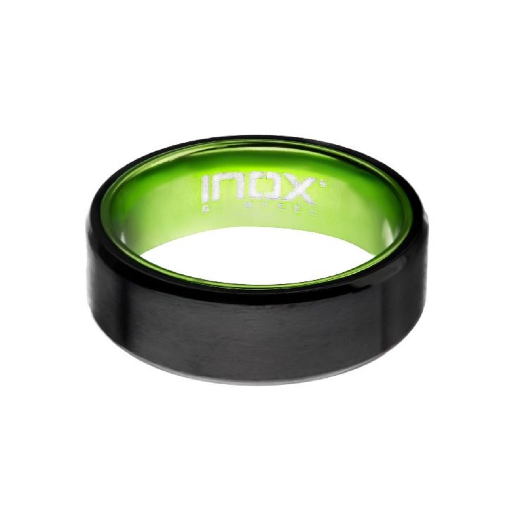 Inox Mens Green Steel Black IP Aluminum Flat Band Ring Size 9