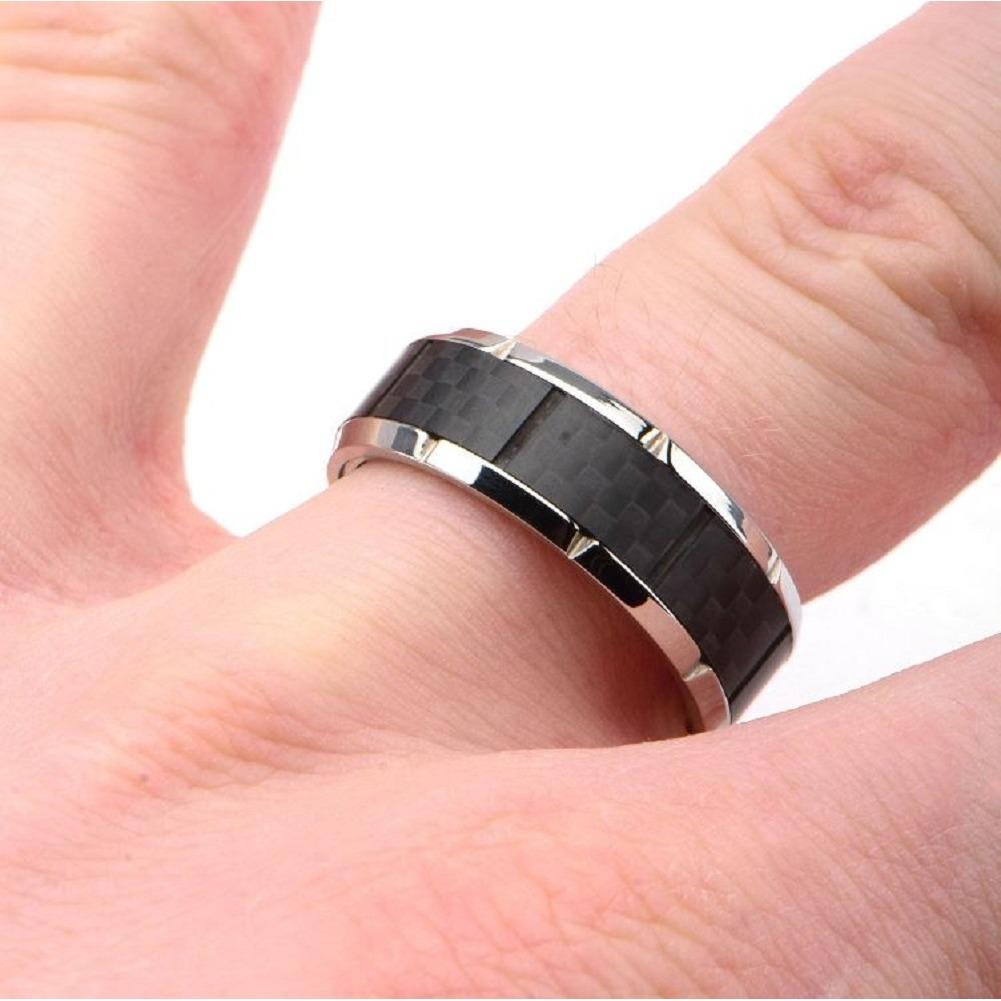 Inox Mens Ridged Edge with Center Solic Carbon Fiber Ring Size 11