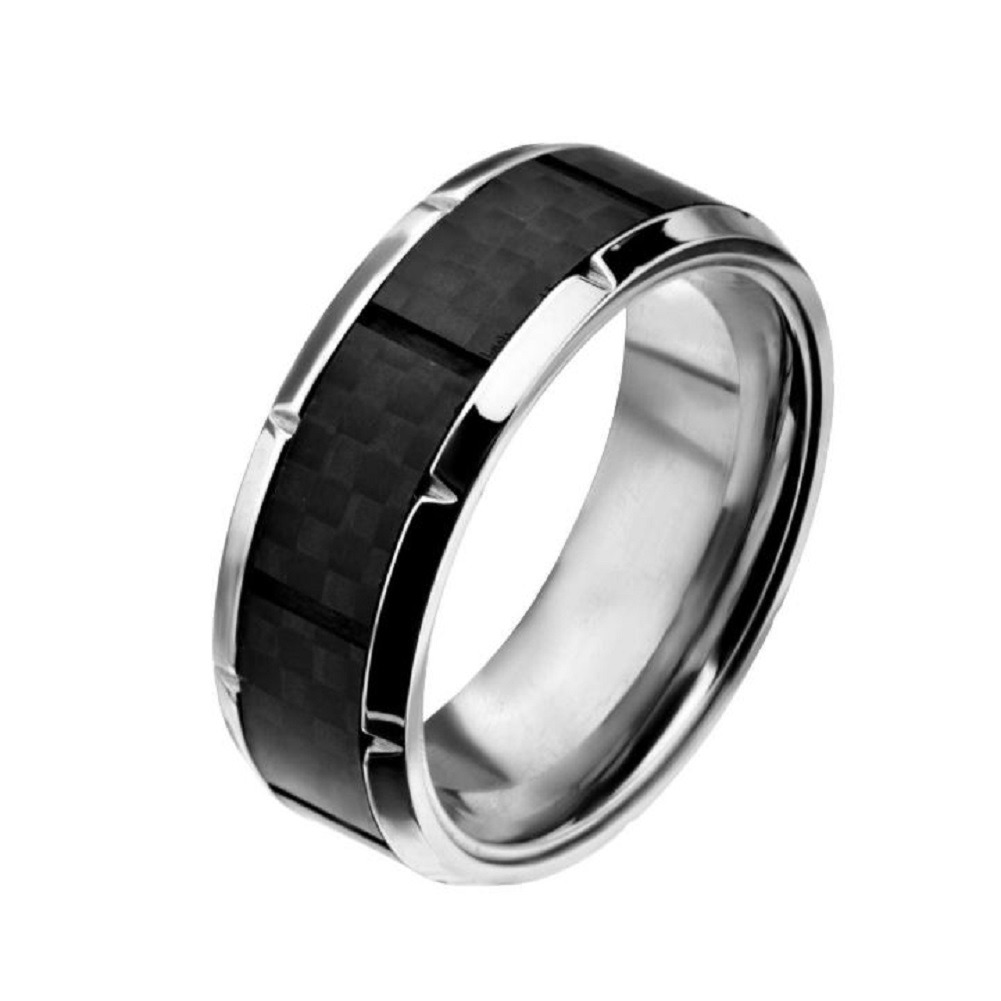 Inox Mens Ridged Edge with Center Solid Carbon Fiber Ring Size 12