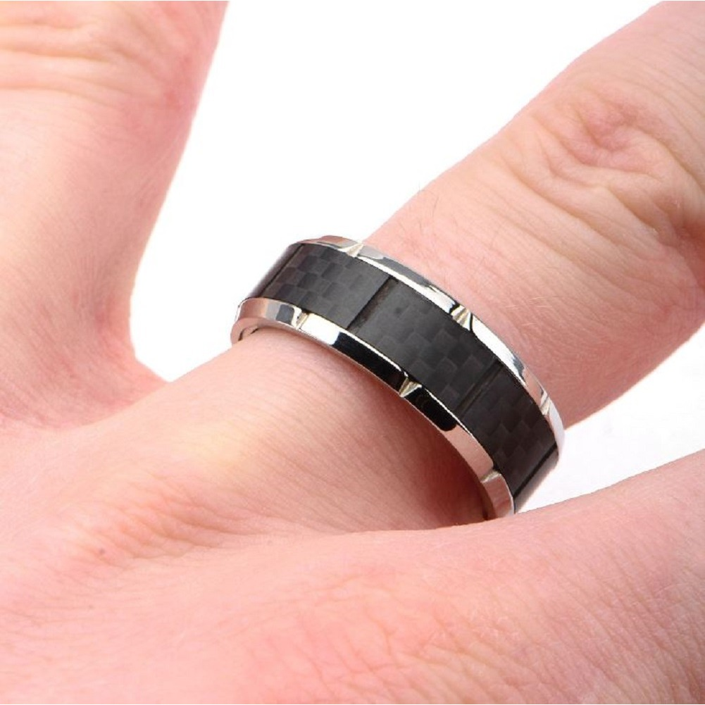 Inox Mens Ridged Edge with Center Solid Carbon Fiber Ring Size 10