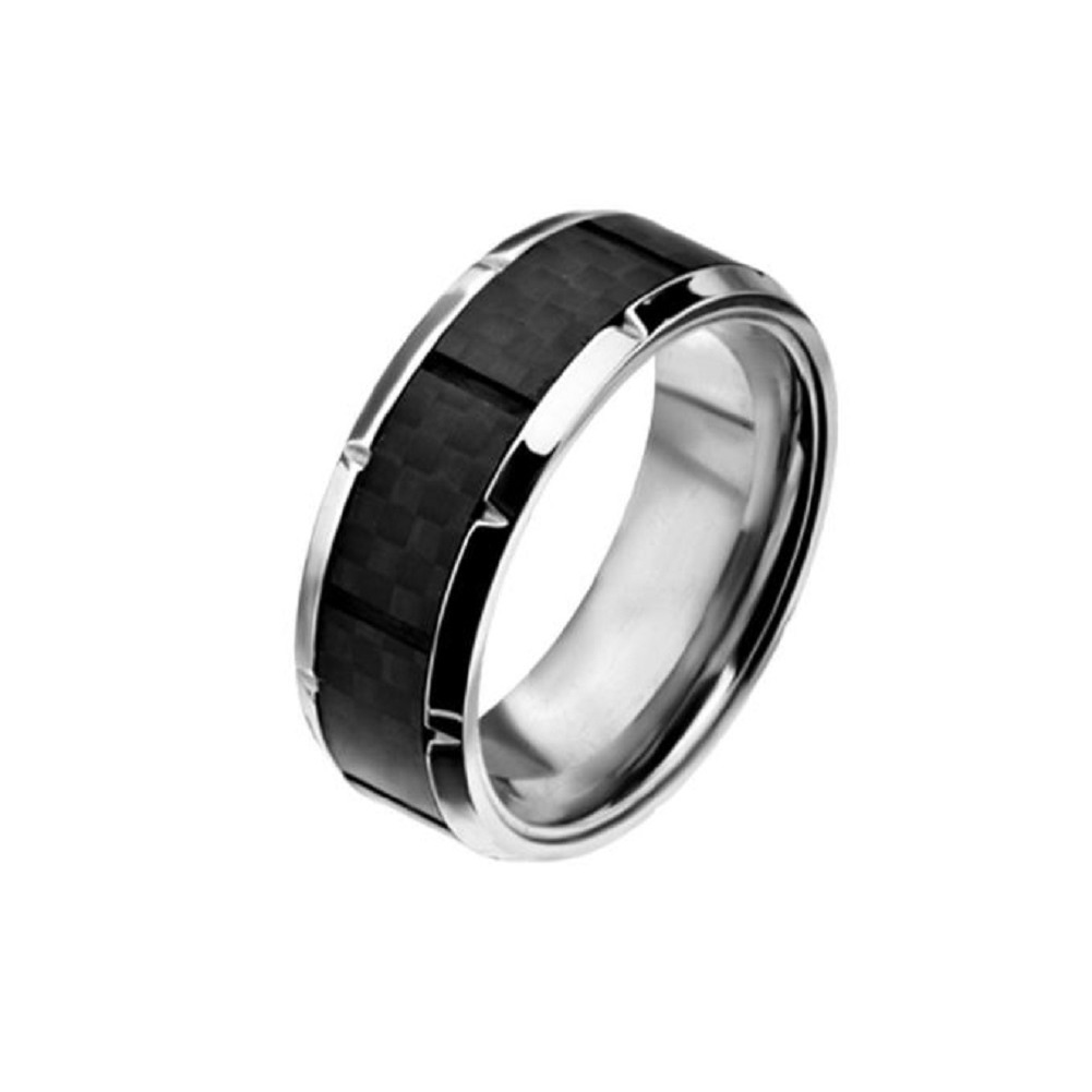Inox Mens Ridged Edge with Center Solid Carbon Fiber Ring Size 9