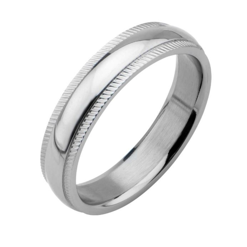 Inox Mens Stainless Steel Polished Finish Groove Edge Wedding  Band Ring Size 9