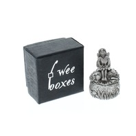 A.E. Williams Pewter Tiny Trinket Wee Box Fairy with Flowers