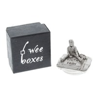 A.E. Williams Pewter Tiny Trinket Wee Box Little Boy Tooth Fairy on Pillow