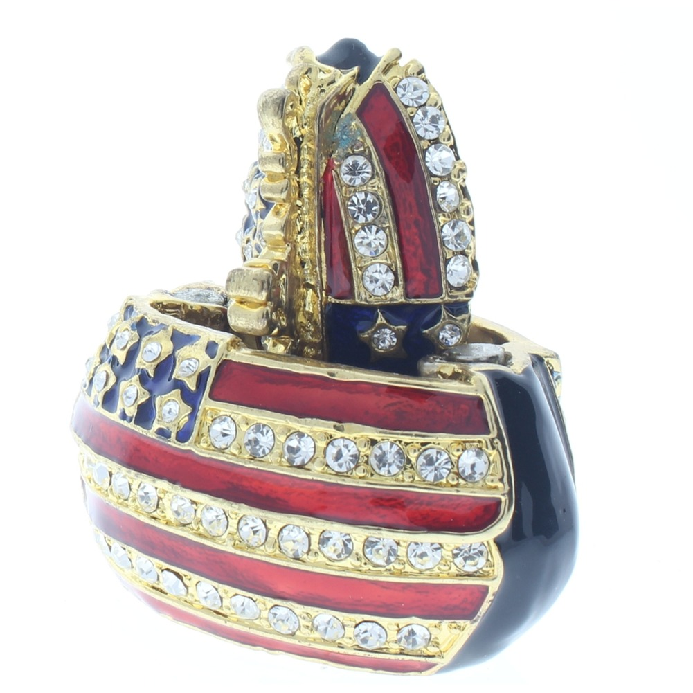 Red White Blue Flag Purse Rhinestone Collectible Hinged Trinket