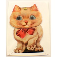 Victorian Card Turn Of The Century Kitten Cat Knodder Gift Tag To From #Grc036