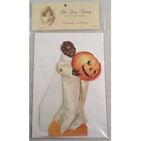 Victorian Turn Of The Century Happy Halloween Ghost Card Movable Rivet #Mgc011