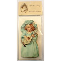 Victorian Turn Of The Century  Best Wishes Girl Mandolin Greeting Card #Grc030