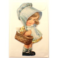 Victorian Turn Of The Century  Sun Bonnet Little Girl With Basket Card  #Grc042
