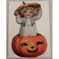 Victorian Turn Of The Century Happy Halloween Pumpkin Boy Greeting Card #Grc045
