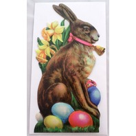 Victorian Turn Of The Century Easter Card Bunny Rabbit With Painted Eggs #Grc046