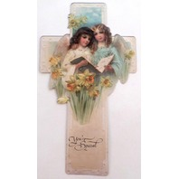 Victorian Turn Of The Century Easter Card Angels & Cross You'Re Special Bookmark