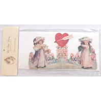 Victorian Turn Of The Century Valentine Card Pop-Up Jester Clown Heart #Grc069